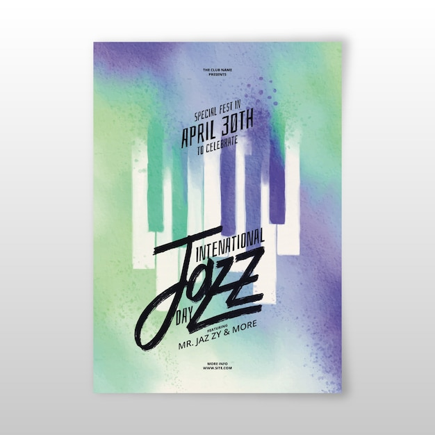 Watercolor international jazz day poster Free Vector