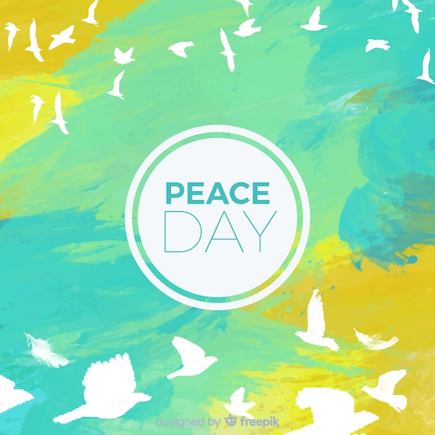 Watercolor international peace day concept with white dove Free Vector