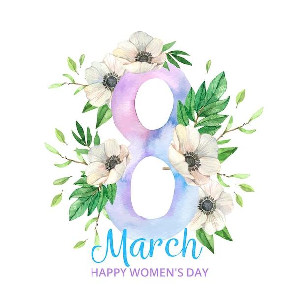Watercolor international women's day Premium Vector