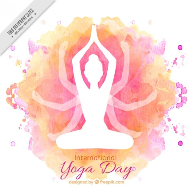 Watercolor international yoga day background Free Vector