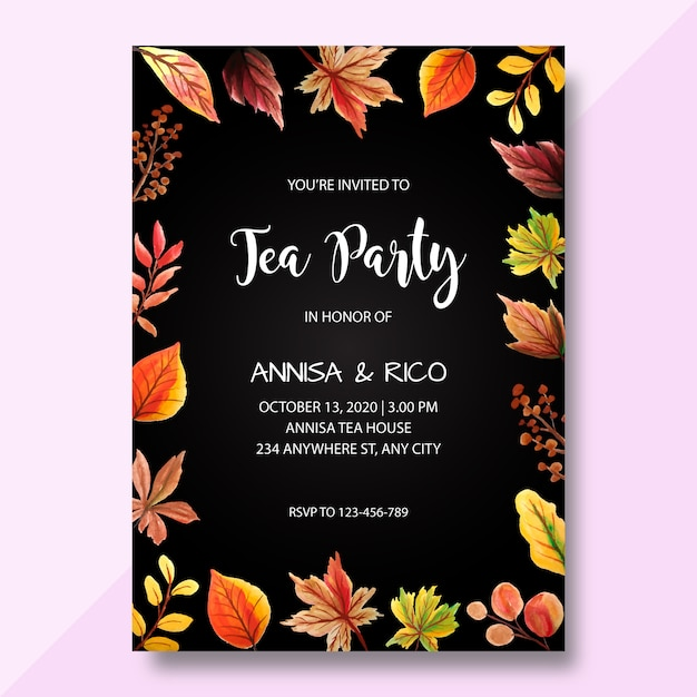 Watercolor invitation card, tea party invitation, modern wedding invitation Premium Vector