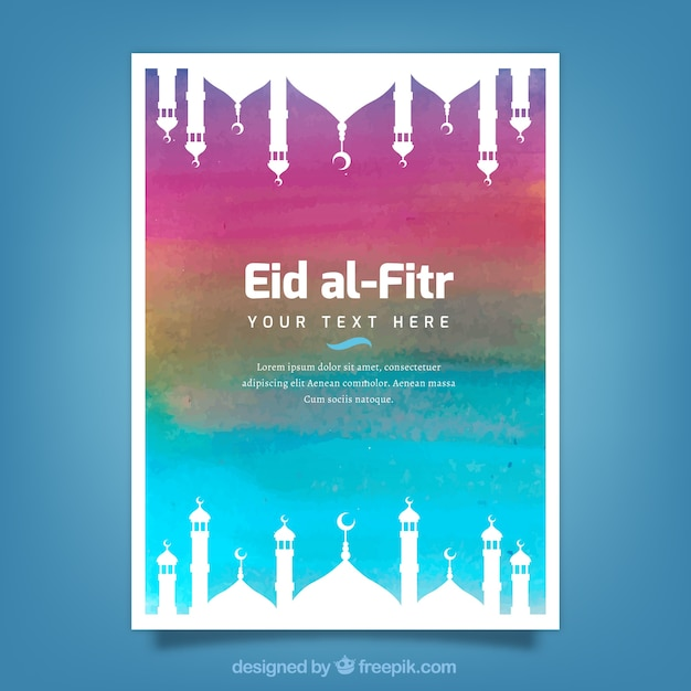Watercolor invitation of eid alfitr Vector Free Download