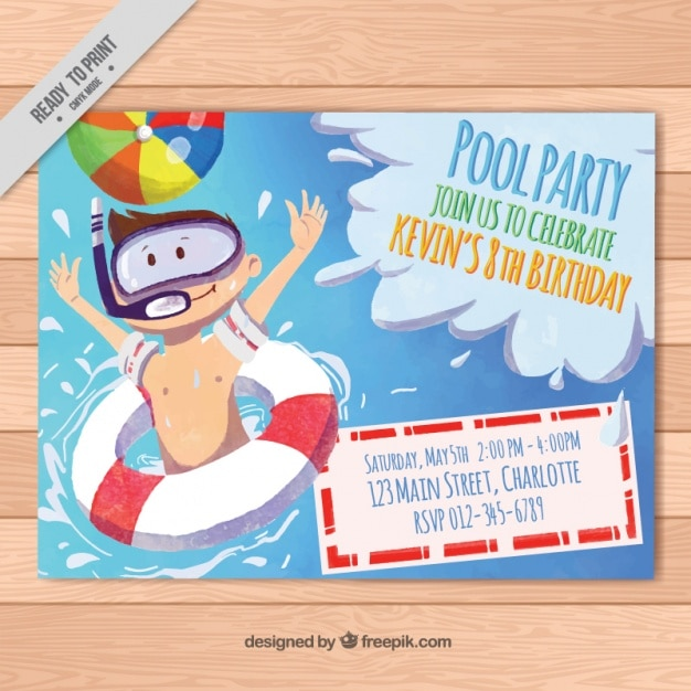 Watercolor invitation for pool party Free Vector