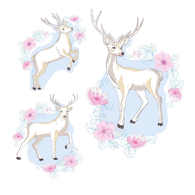 Watercolor isolated deer, big antlers, flowers and birds on the horns Premium Vector