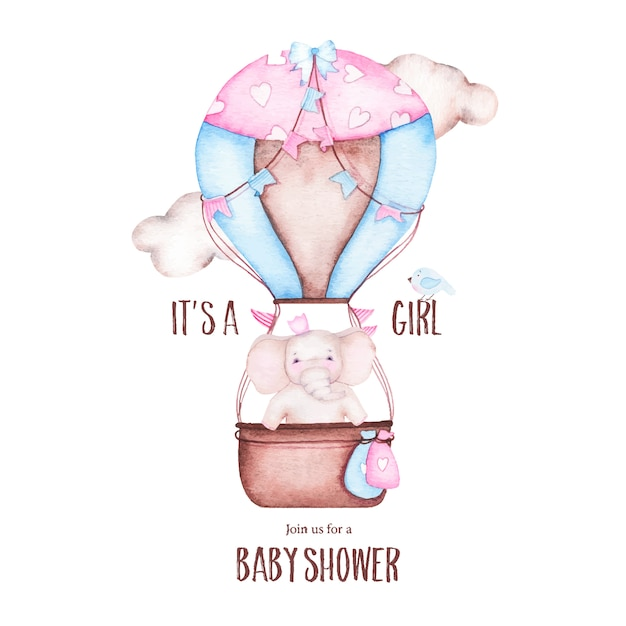 Watercolor it is girl baby shower with cute hot air balloon with elephant Free Vector