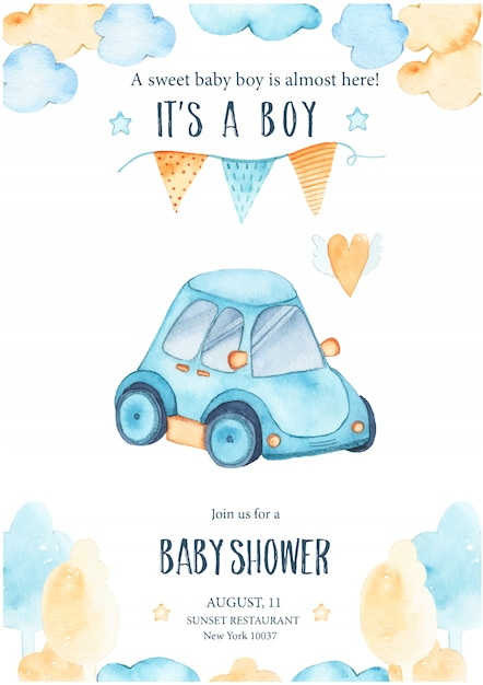 Watercolor its baby boy shower with cute blue car auto garland Free Vector