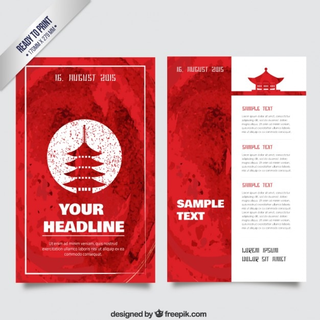 Watercolor japanese flyer Vector   Free Download