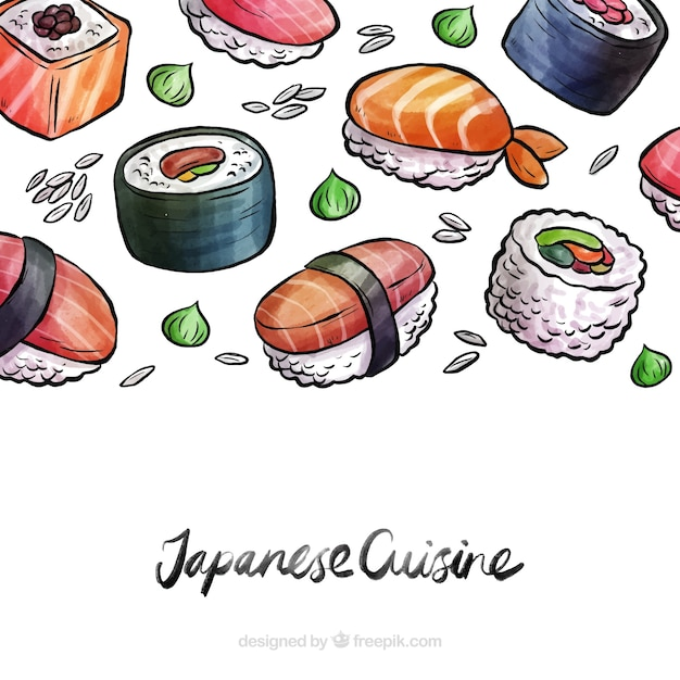 Watercolor japanese food background Free Vector