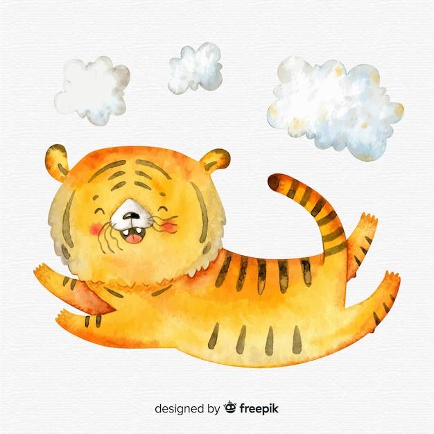 Watercolor jumping tiger Free Vector