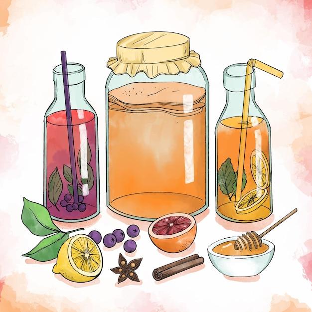 Watercolor kombucha tea illustration with fruits Free Vector