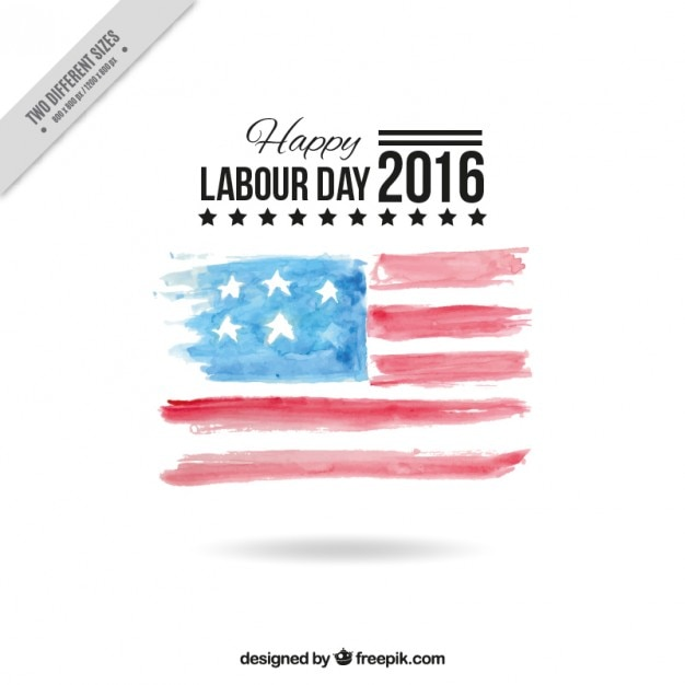 Watercolor labor day background with american flag