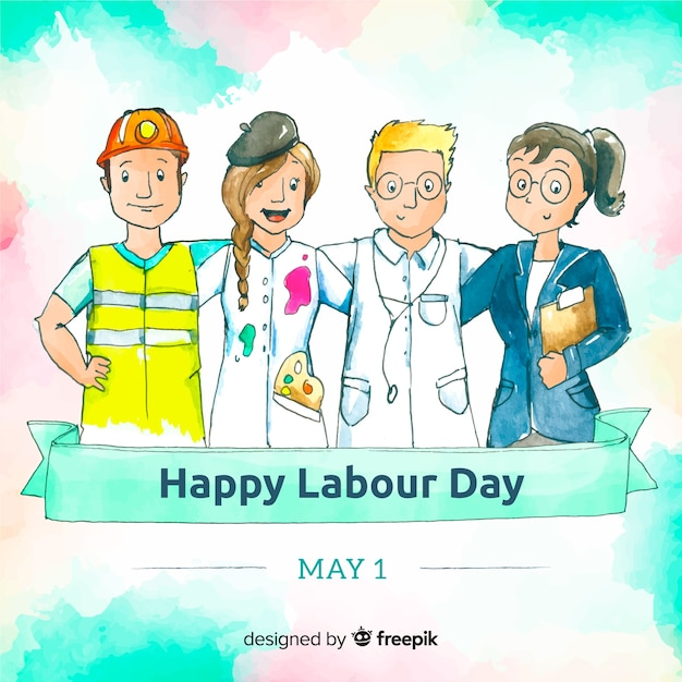 Watercolor labor day background Free Vector