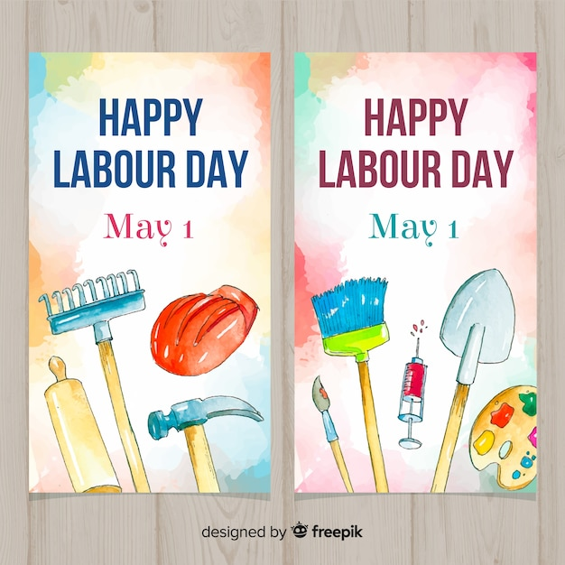 Watercolor labor day banners Free Vector