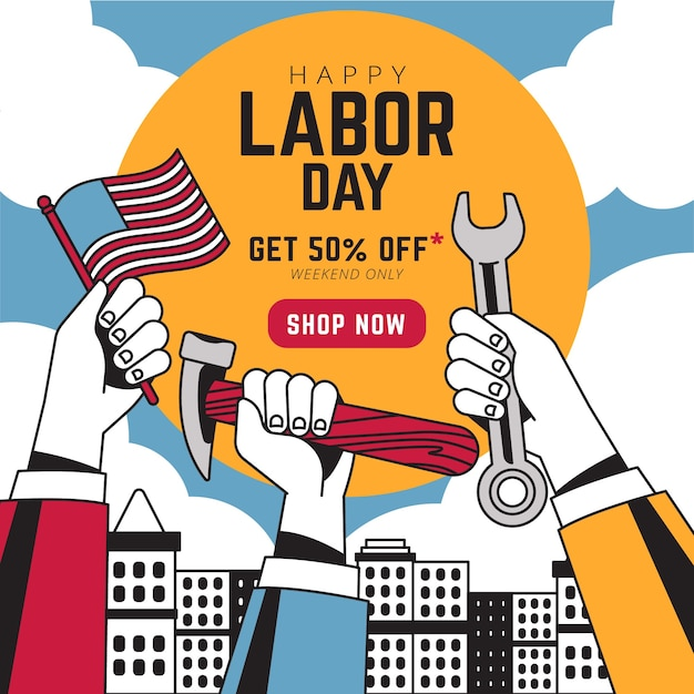 Watercolor labor day sale banner Free Vector