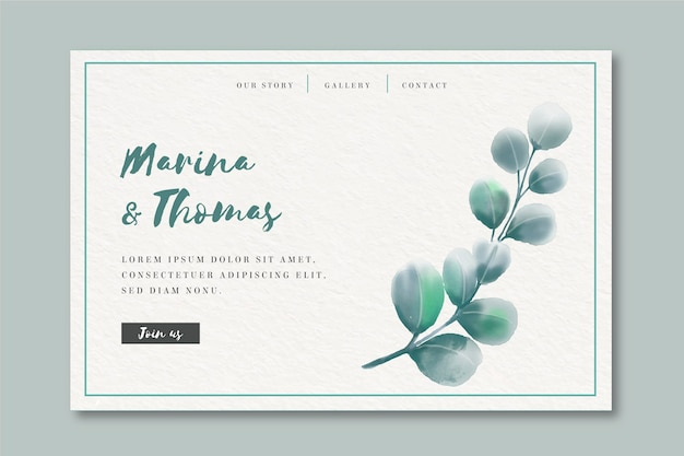 Watercolor landing page template for wedding Free Vector