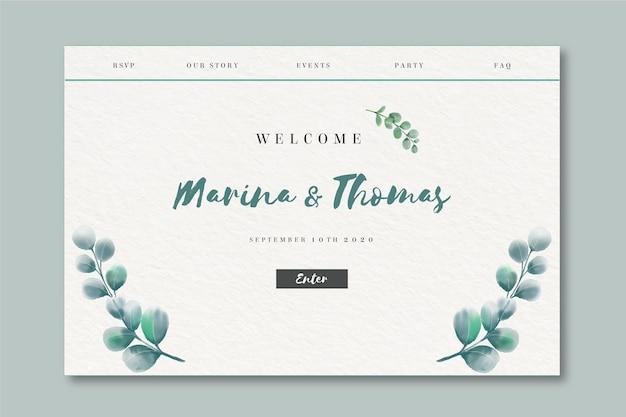 Pagina di destinazione dell'acquerello per il matrimonio Vettore gratuito