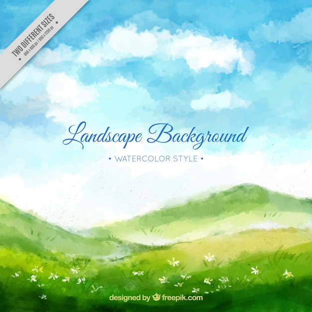 Watercolor landscape background with meadow and\ blue sky