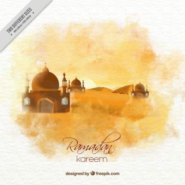 Watercolor landscape ramadan background Free Vector