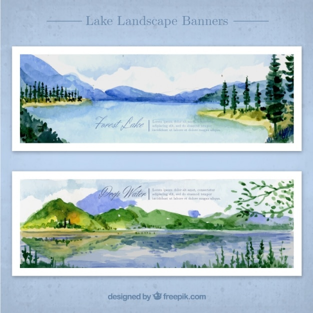 Watercolor landscapes with lake and\ mountains