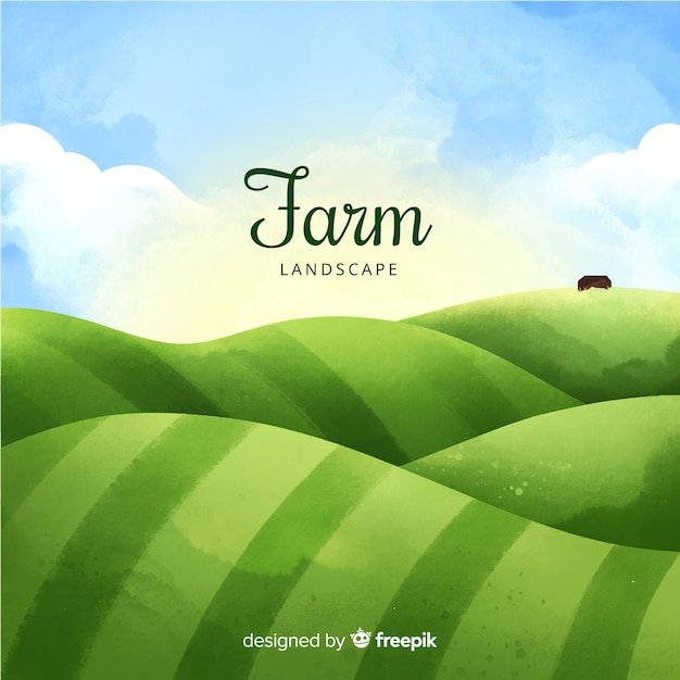 Watercolor lanscape background with farm Free Vector