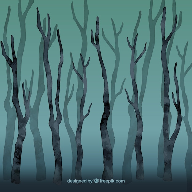Watercolor leafless forest Premium Vector