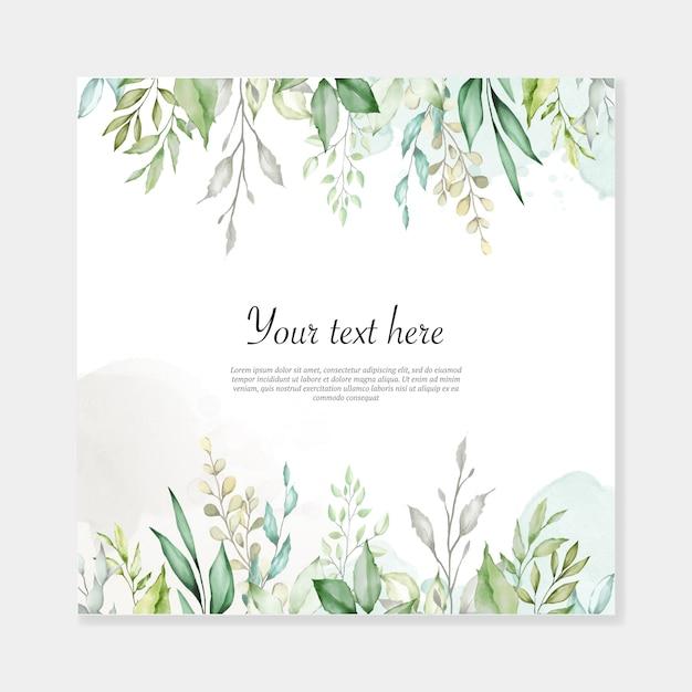 Watercolor leaves background multi-purpose frame Premium Vector