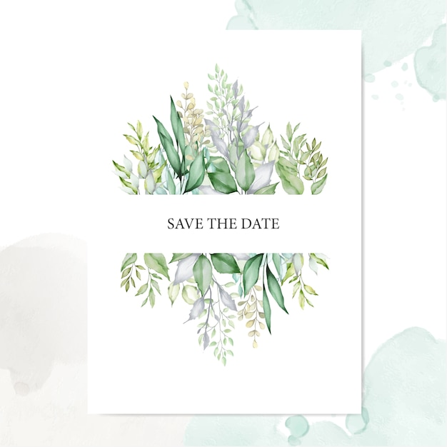 Watercolor leaves background multi-purpose frame Premium Vector