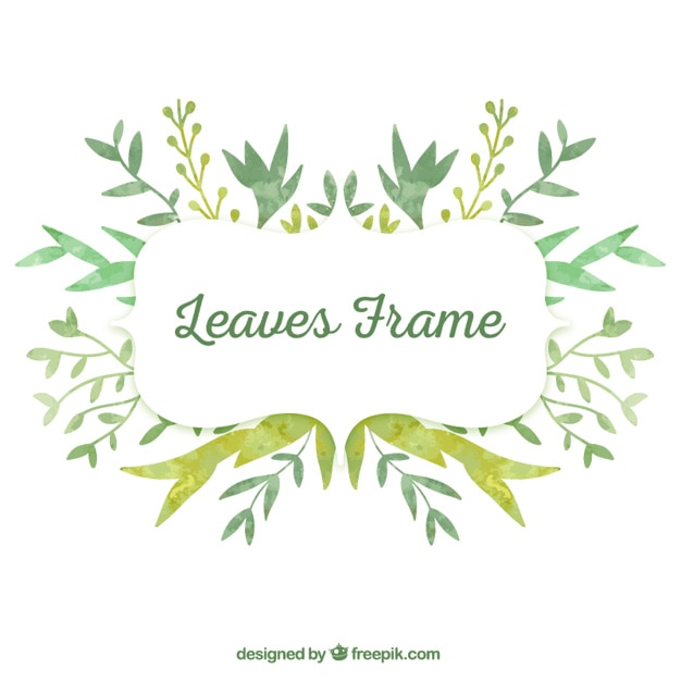 Watercolor leaves frame Free Vector