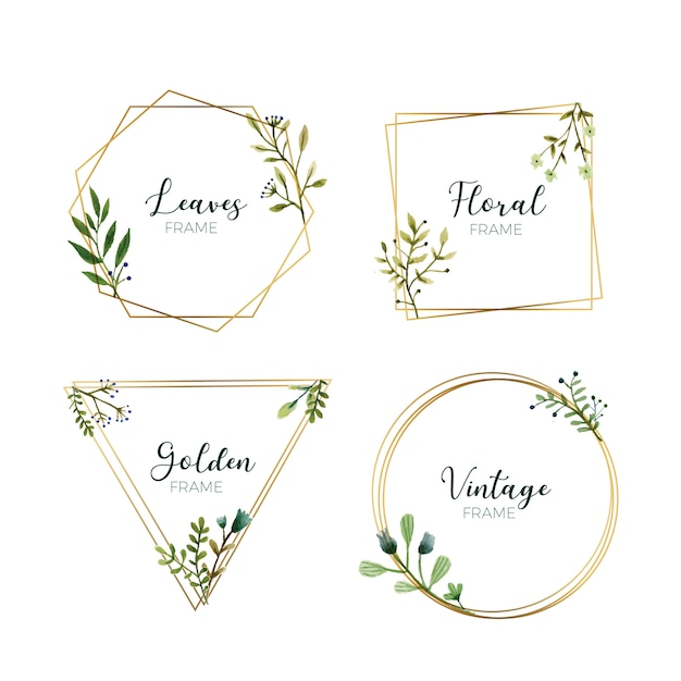 Watercolor leaves in gold frames Free Vector