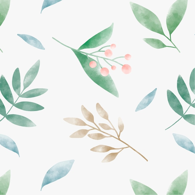Watercolor leaves graphic pattern design Free Vector