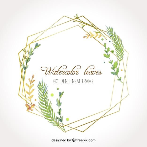 Watercolor leaves in golden lineal frame Free Vector