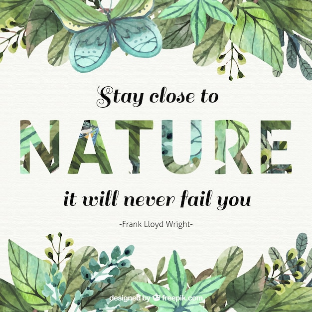 Nature Images With Quotes Download: Watercolor Leaves Inspirational Quote About Nature Vector
