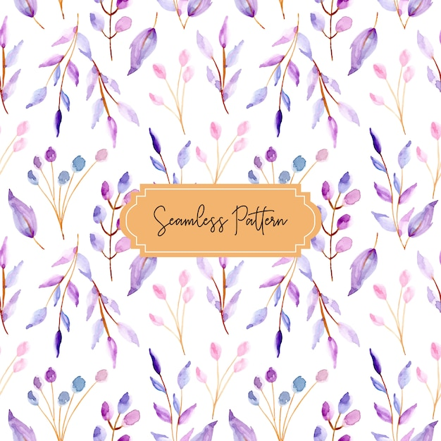 Watercolor leaves pastel seamless pattern Premium Vector