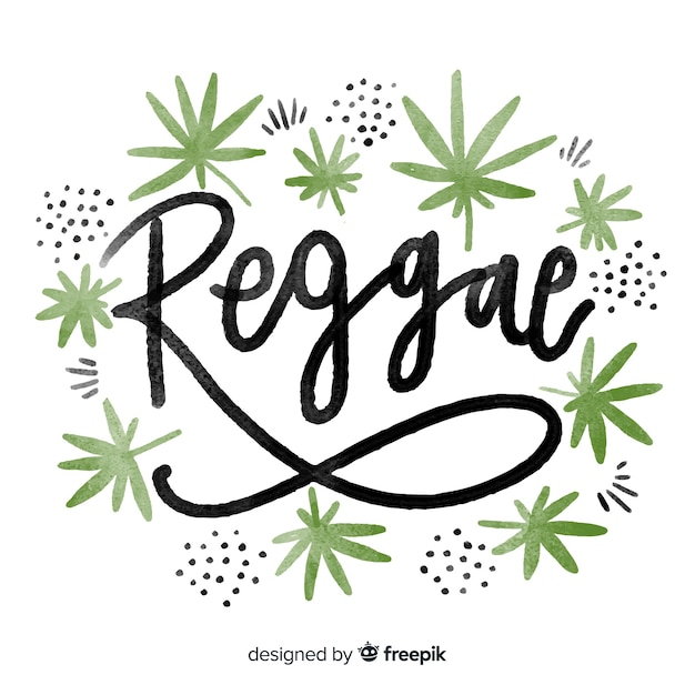 Watercolor leaves reggae background Free Vector