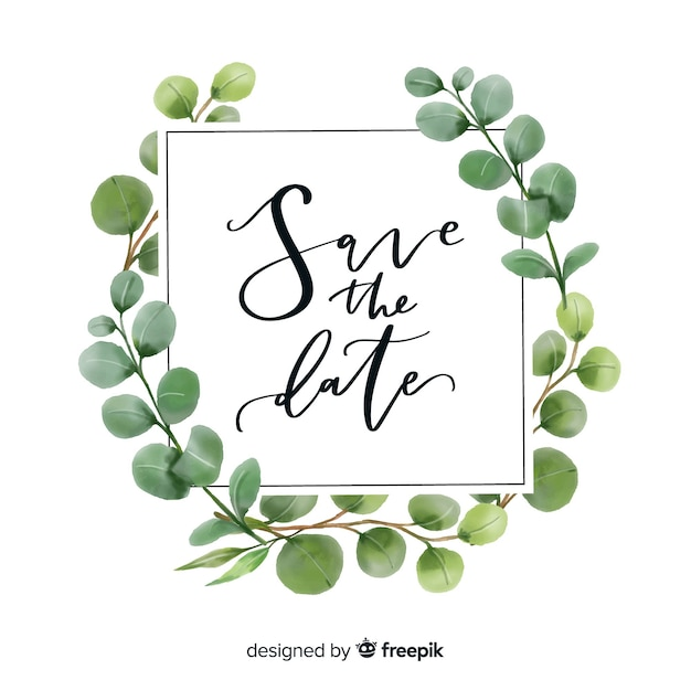 Watercolor leaves save the date Free Vector