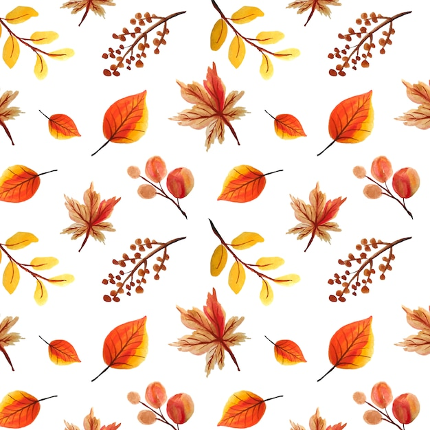 Watercolor leaves seamless pattern, autumn background Premium Vector