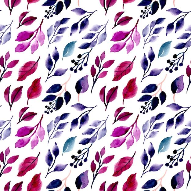Watercolor leaves seamless pattern Premium Vector
