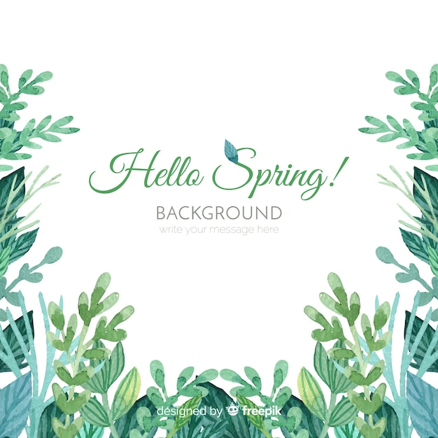 Watercolor leaves spring background Free Vector
