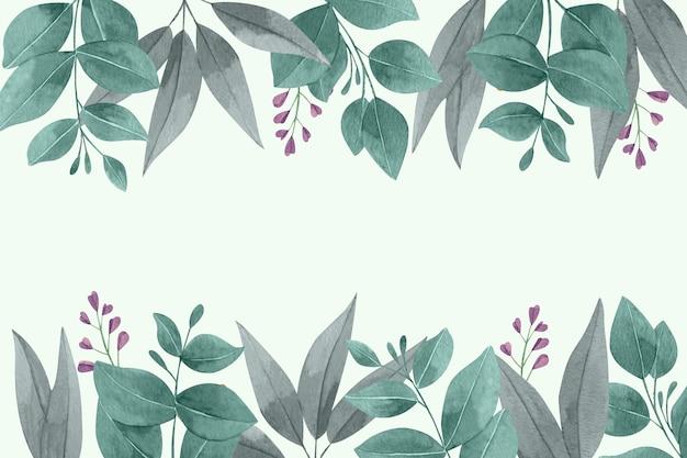 水彩画の葉の壁紙 Premiumベクター