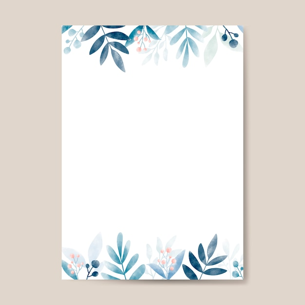 Watercolor leaves with copy space design Free Vector