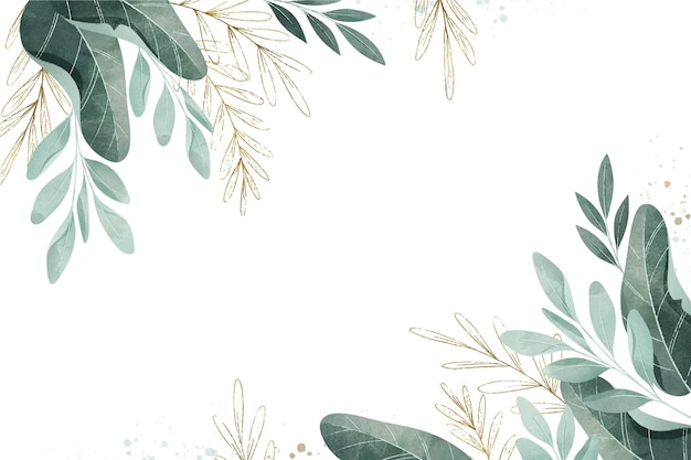 Watercolor leaves with empty space Free Vector