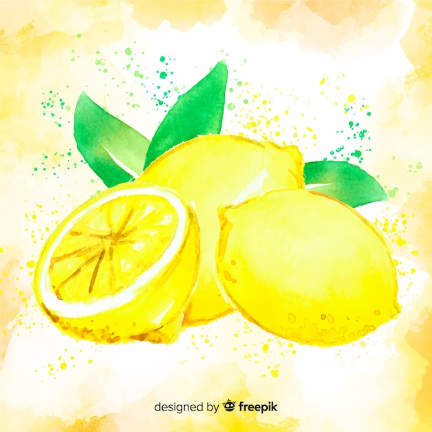 Watercolor lemon background Free Vector