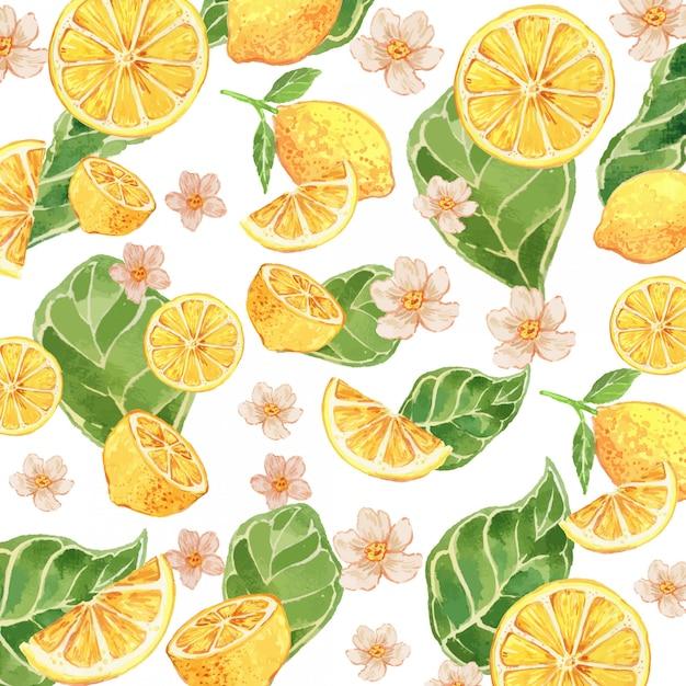 Watercolor lemon yellow gouache seamless pattern Premium Vector