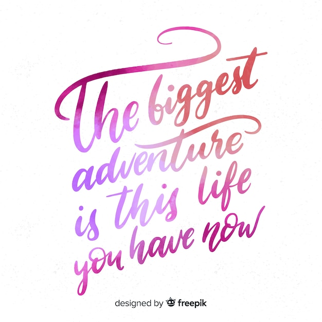 Watercolor lettering about life Free Vector