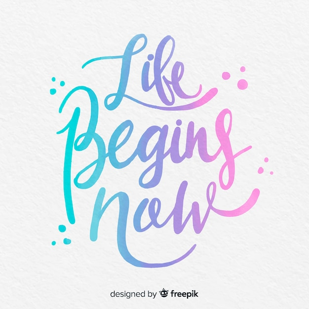 Watercolor lettering with quote about life Free Vector