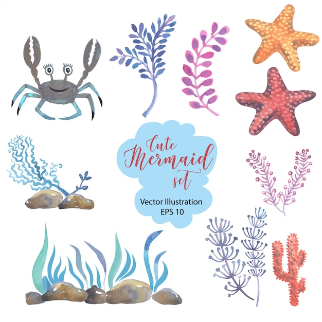 Watercolor little mermaid with pink hair and green fishtail lies on the sand on the seabed. Premium Vector