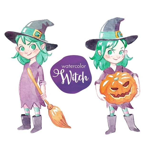 Watercolor little witch character Free Vector