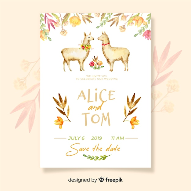 Watercolor llama wedding invitation template Free Vector