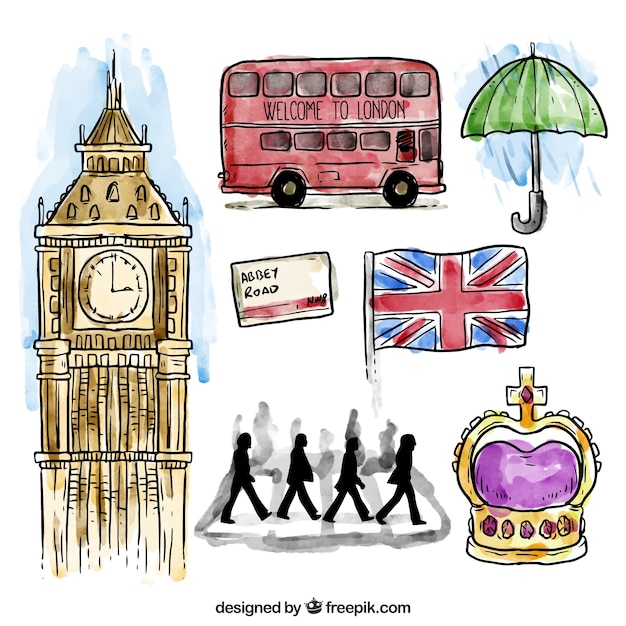 Watercolor London Elements Collection Free Vector