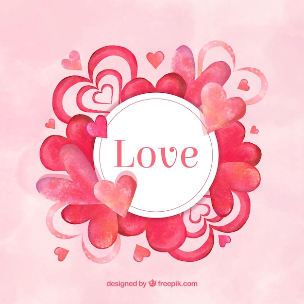 Watercolor love background with hearts